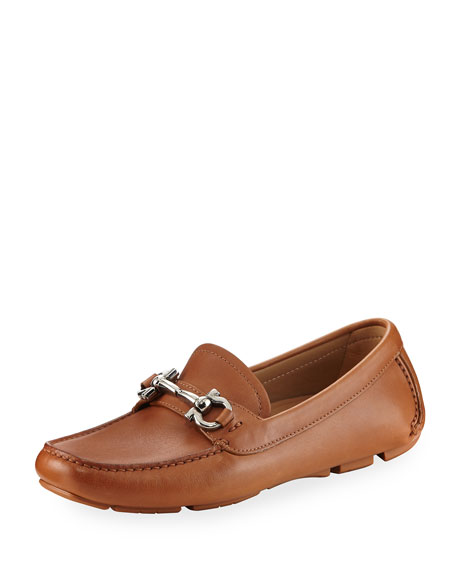 Gancini Leather Loafer, Brown