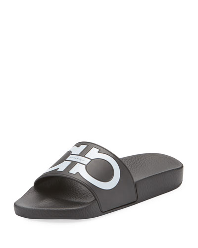 Groove Pool Slide Sandal, Black