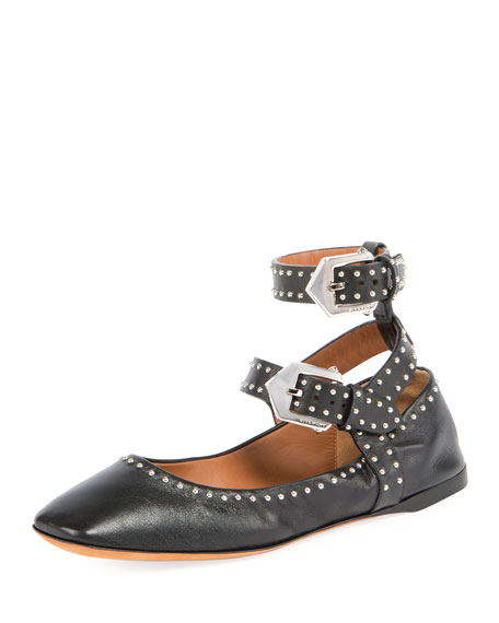 Givenchy Elegant Soft Dual-Wrap Stud Ballet Flats, Black