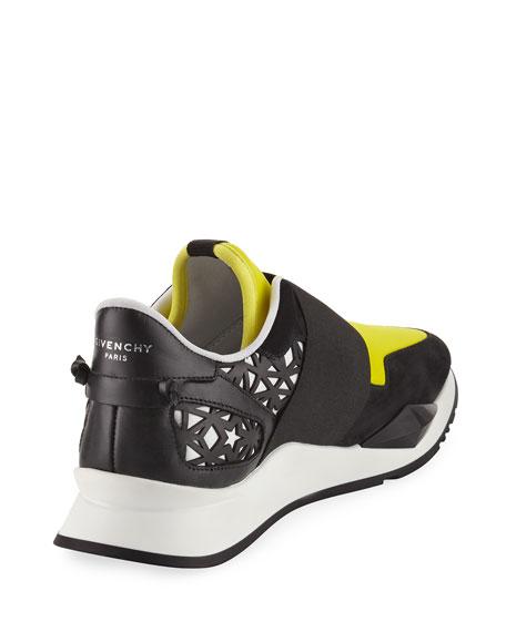 Two-Tone Elastic Runner Sneaker, Black/Yellow