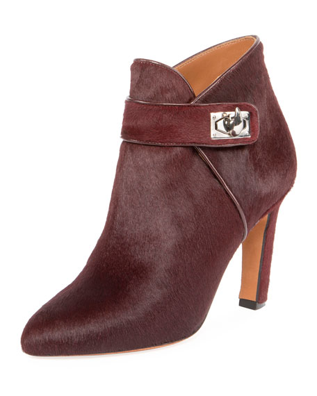 Givenchy Shark Calf Hair Ankle Boot, Oxblood Red