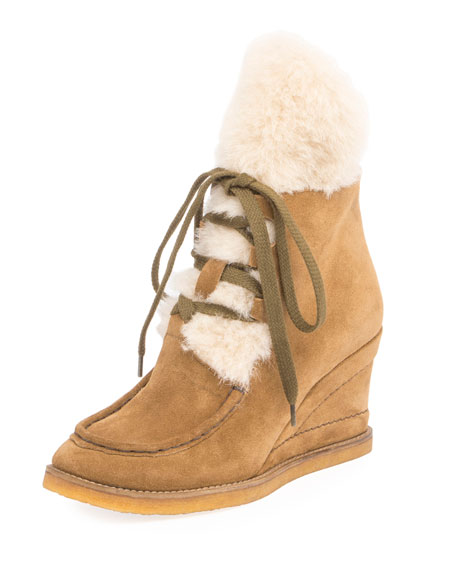 Chloe Peggy Suede Shearling Fur Wedge Bootie