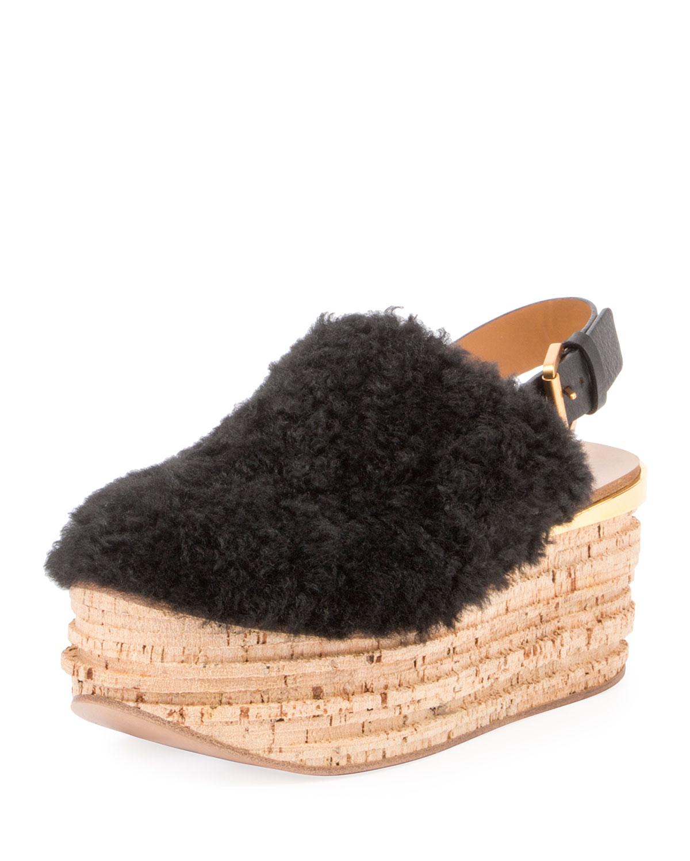 60567ca28a27 Chloe Camille Shearling Fur Platform Slingback Sandal