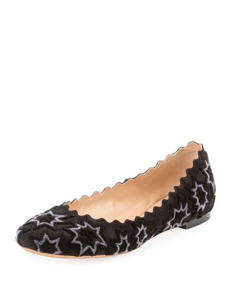 Lauren Embroidered Velvet Ballet Flat, Black