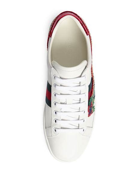 Snake-Embroidered Sneakers, White