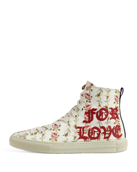 Major Blind For Love High-Top Sneakers, White/Red