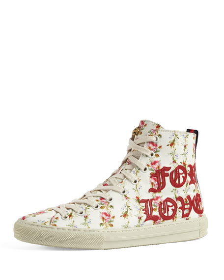 Gucci Major Blind For Love High-Top Sneaker, White/Red