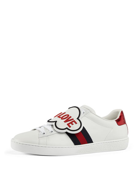 Gucci Blind For Love New Ace Sneaker, White/Red