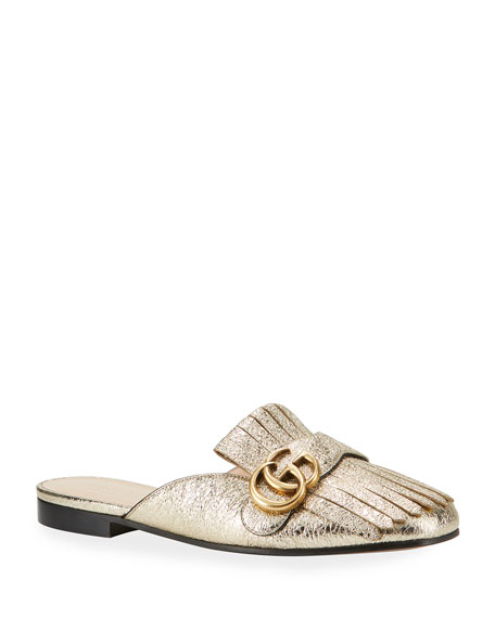 Marmont Fringed Logo-Embellished Metallic Cracked-Leather Slippers, Platinum Metallic Laminate Leather