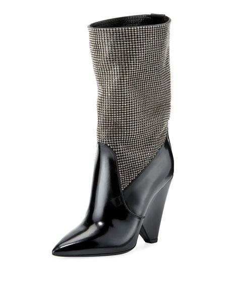 Saint Laurent Embellished Cone-Heel Mid-Calf Boot