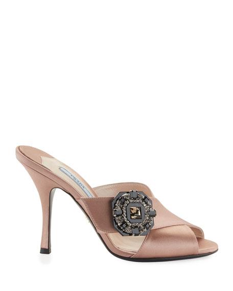 Jeweled Satin 100mm Slide Sandal, Nude