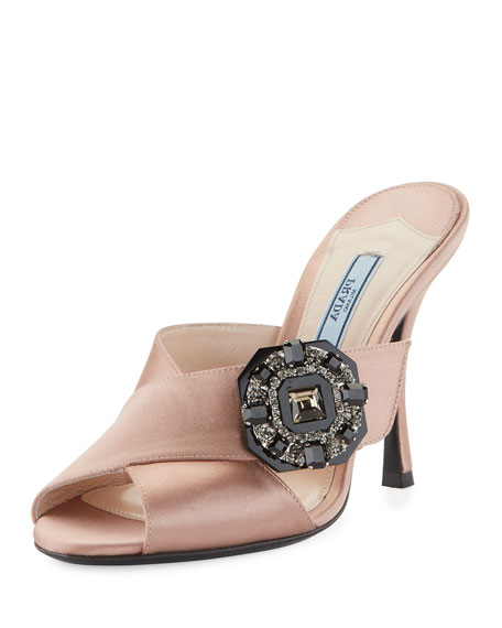 Prada Jeweled Satin 100mm Slide Sandal, Nude