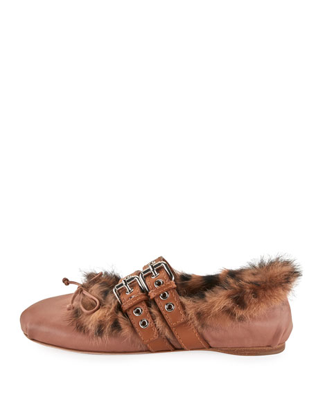 Rabbit Fur Belted Ballet Flat, Neutral