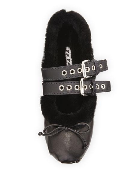 Shearling Fur Belted Ballet Flats