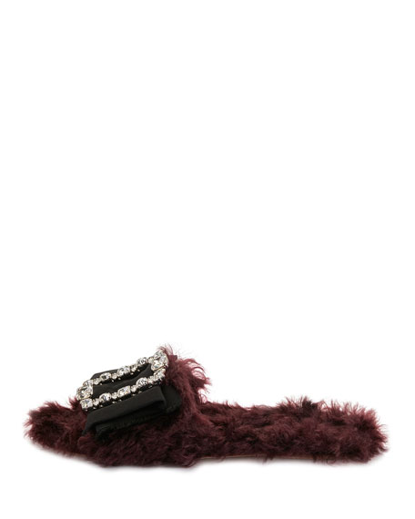 Furry Flat Slide Sandal, Dark Red