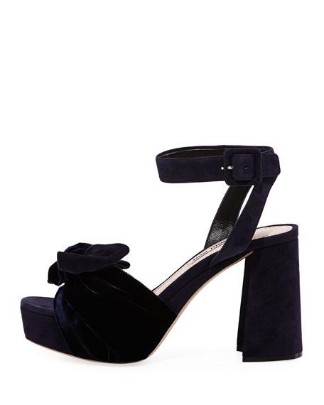 Velvet-Bow Suede Platform Sandal