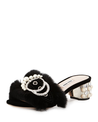 Embellished Fur Slide Mule, Black