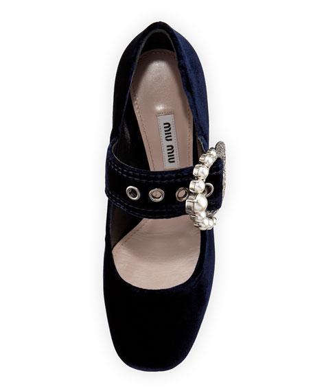 Pearly-Buckle Velvet Mary Jane Pump, Blue
