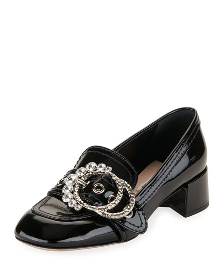 Embellished-Buckle Patent Loafer Pump, Black