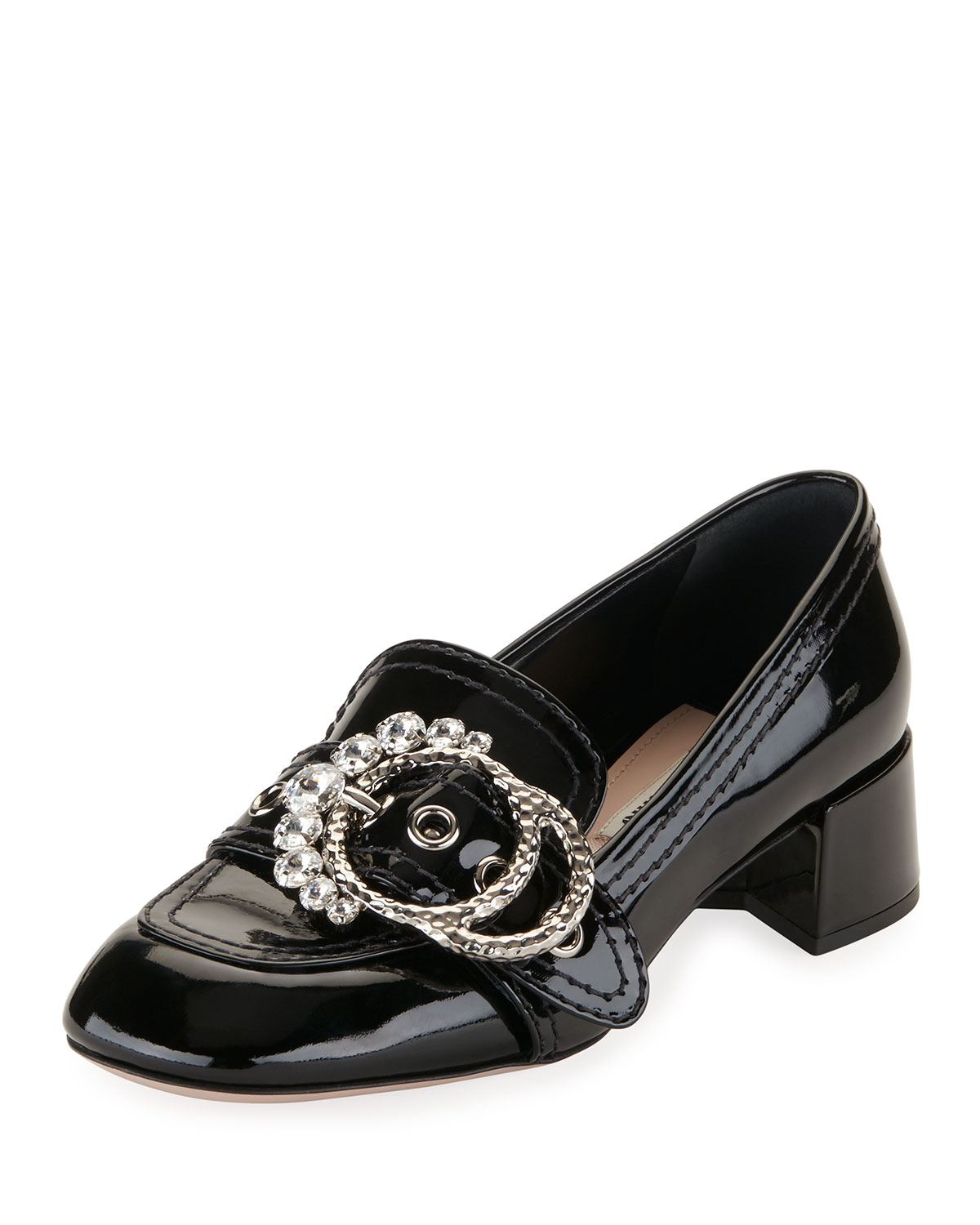 5365db8b2cfc Miu Miu Embellished-Buckle Patent Loafer Pump