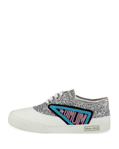 Glitter Beaded Lace-Up Low-Top Sneakers, Silver