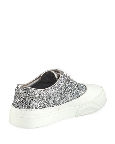 Glitter Beaded Lace-Up Low-Top Sneaker, Silver