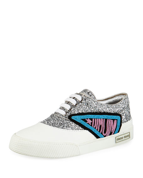Miu Miu Glitter Beaded Lace-Up Low-Top Sneaker, Silver