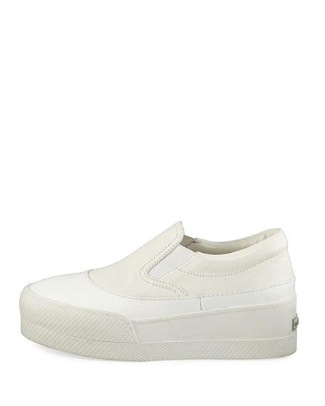 Leather Platform Skate Sneaker, White