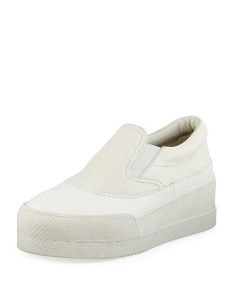Miu Miu Leather Platform Skate Sneaker, White