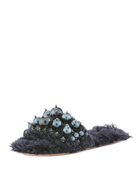 Miu Miu Pearly Flat Slide Sandal, Blue