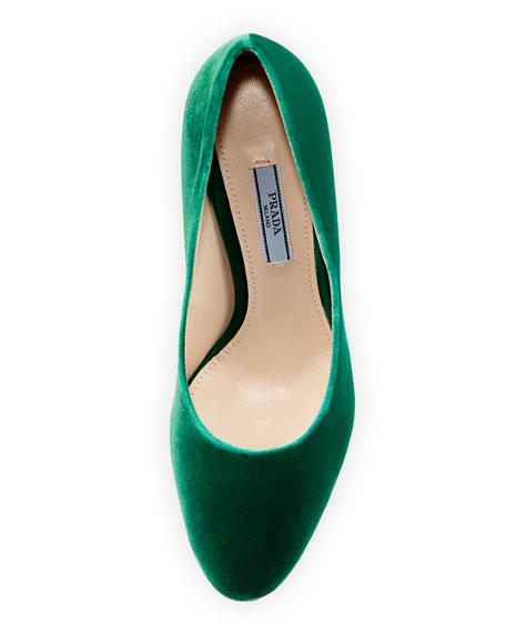 Velvet 85mm Block-Heel Pump, Green