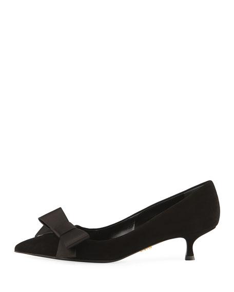los angeles newest collection sale uk Suede Kitten-Heel Bow Pump, Black