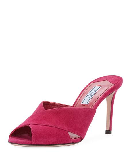 Prada Suede Crisscross Slide Sandal, Pink