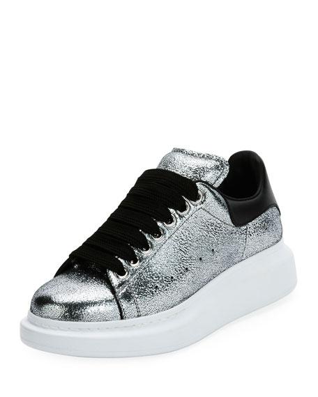 Alexander McQueen Metallic Lace-Up Platform Sneaker, Silver/Black