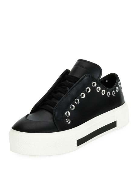 Leather Platform Sneakers with Embellishment