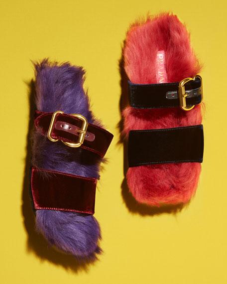 Fur Velvet Slide Sandal