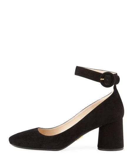 Suede Block-Heel Ankle-Wrap Pump