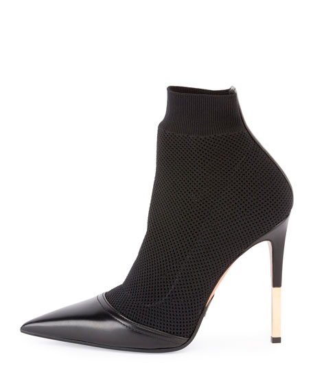 Aurore Stretch-Fabric Ankle Boot, Noir