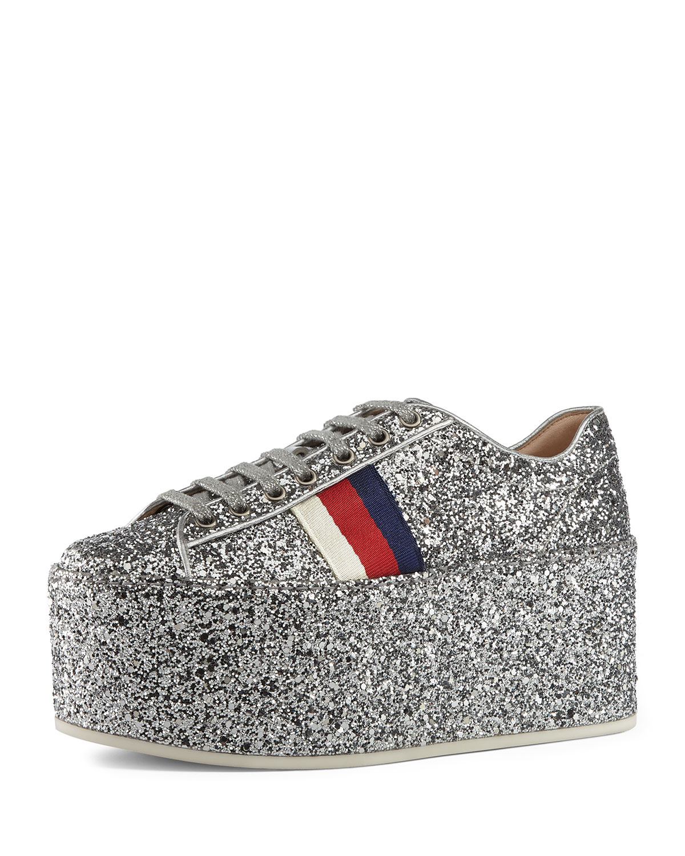 4ff52717fa17 Gucci Peggy Glitter Platform Low-Top Sneaker