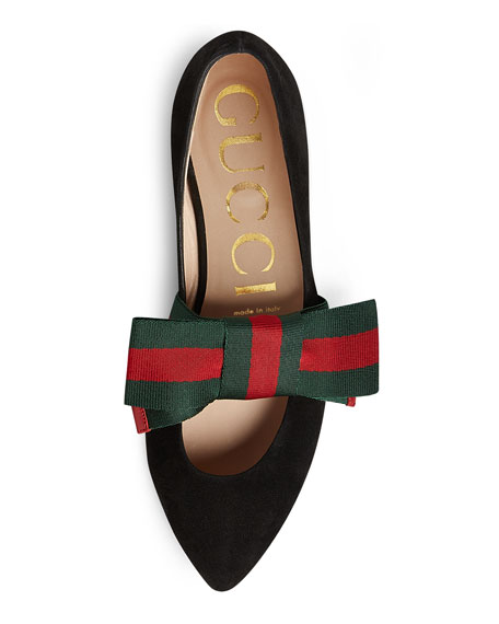 Gucci Bow-Embellished Suede Point-Toe Flats In Black  beedeedaef