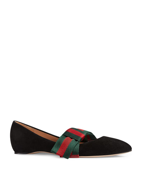 Bow-Embellished Suede Point-Toe Flats in Black