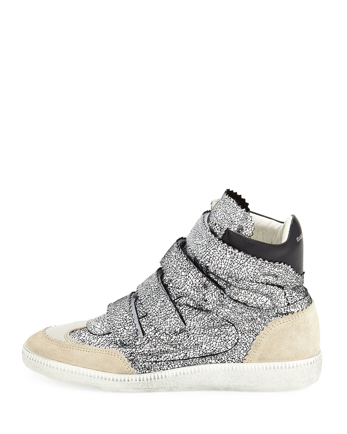 Isabel Marant Bilsy Crackled Multi-Strap Sneakers, Gunmetal