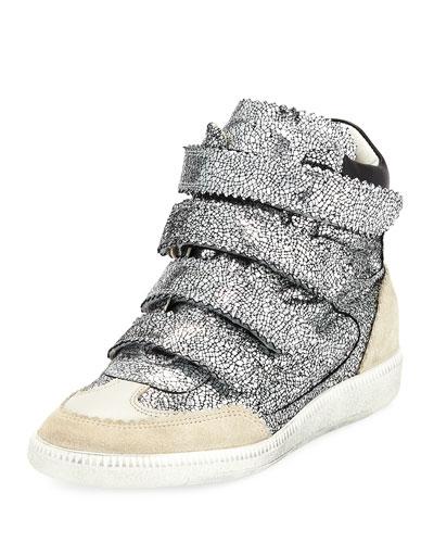 Bilsy Crackled Multi-Strap Sneaker, Gunmetal