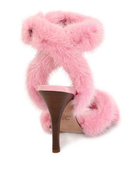 95mm Mink Fur Ankle-Wrap Sandal