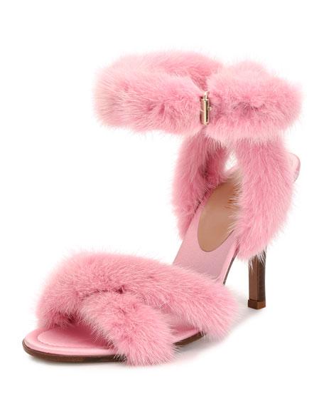 Valentino Garavani 95mm Mink Fur Ankle-Wrap Sandal