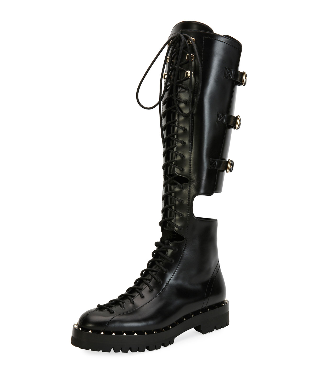 Valentino Garavani Soul Rockstud Split Knee-High Boot  21e9f52ffd0f5