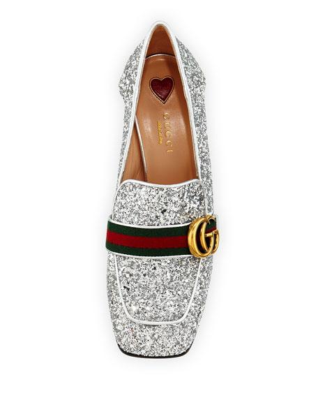 Peyton Glitter Slip-On Loafer Pump, Silver
