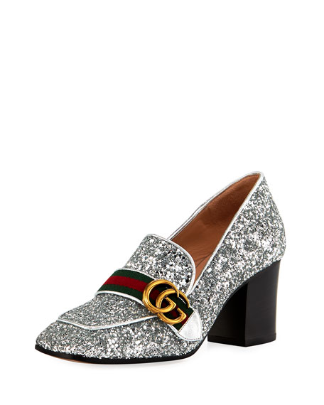 Gucci Peyton Glitter Slip-On Loafer Pump, Silver