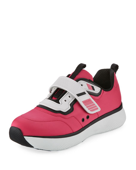 Prada Linea Rossa Stretch Mesh Platform Sneaker, Pink