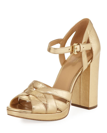 MICHAEL Michael Kors Annaliese Metallic Leather Platform Sandal,